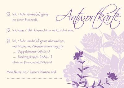 Antwortkarten florale elemente in flieder ii