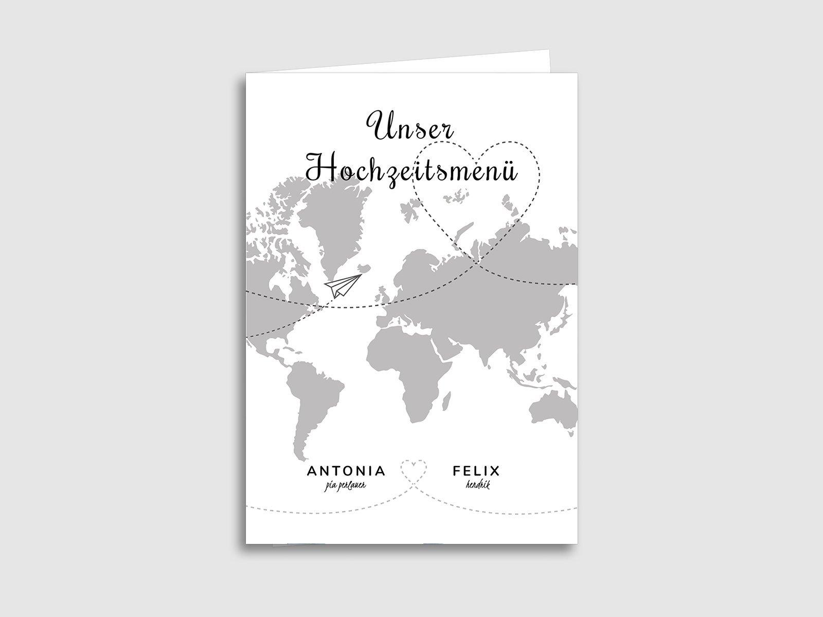 Menukarten Zur Hochzeit Weltkarte