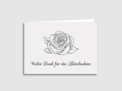 """Dankeskarten Trauer """"Rose"""""""
